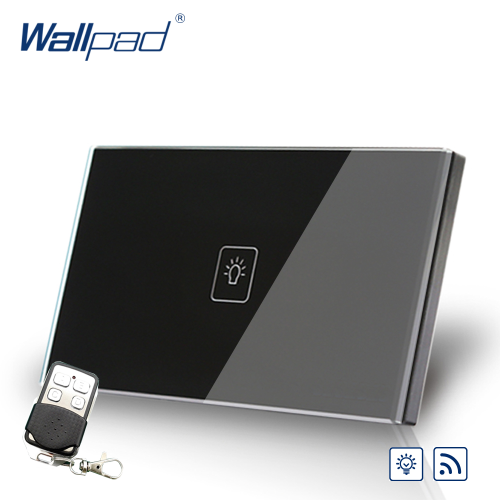 Remote Dimmer Wallpad US/AU Standard Touch Switch AC 110~250V Black Wall Light Switch With Remote Controller remote fan speed regulator wallpad eu standard touch switch ac 110 250v wall light switch with remote controller