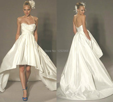 Free shipping!Custom Size & Color New Elegant High low Wedding dress  Bride gown Party dress vestidos de fiesta Plus size