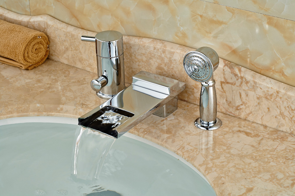 Luxury Chrome Brass Waterfall Spout Bathroom Tub Faucet Deck Mounted Mixer Tap W/ Diverter Hand Sprayer