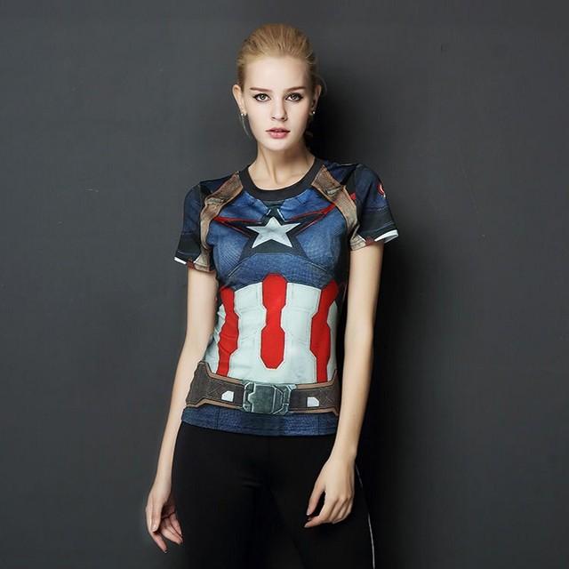6398801d4 Mulheres Superhero Superman Capitão América As Novas Aventuras de Mike DC  Armadura Feminina Camisas Camisetas