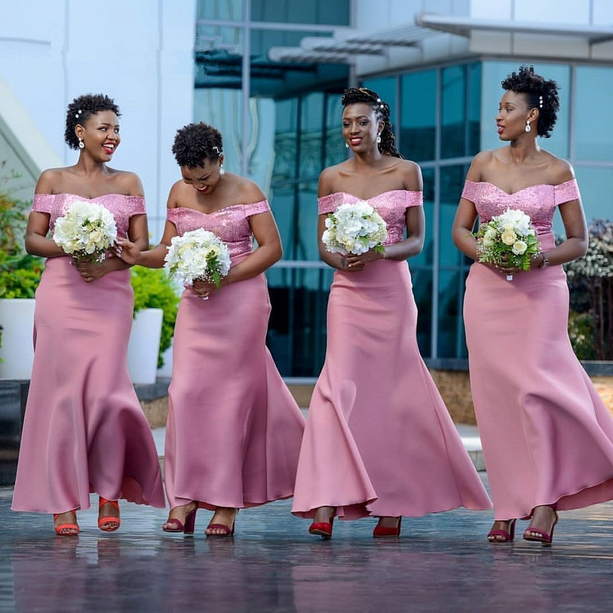 Pink   Bridesmaid     Dresses   African Women 2019 off shoulder Sweetheart Maid Of Honor   Dress   Mermaid wedding party   dress