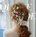 Korean silk flower hairpin headdress pink flowers sweet bride married hair accessories wedding dress with jewelry 0910