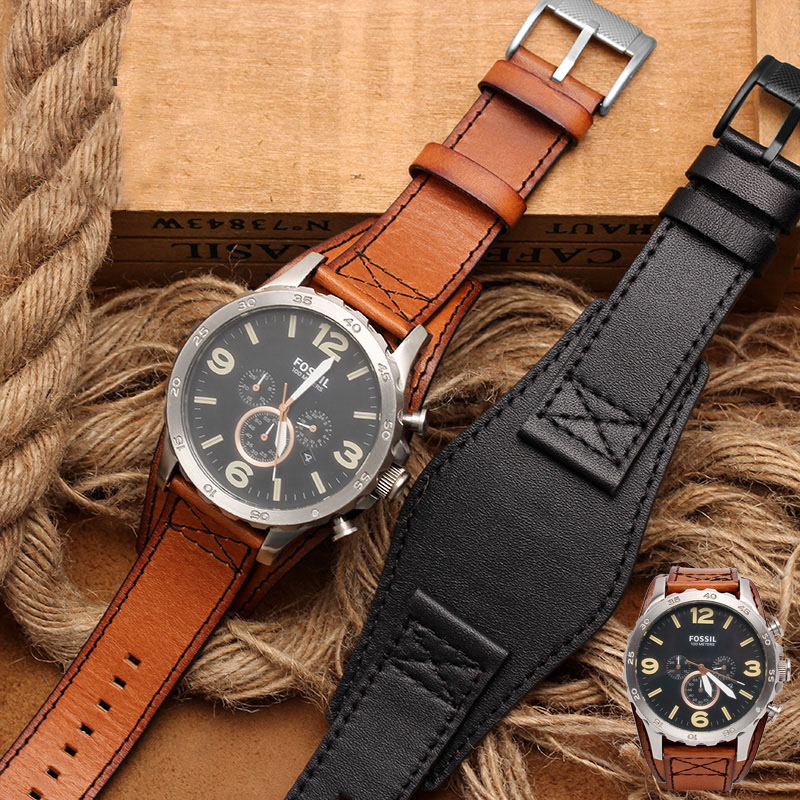 high quantity for men'S genuine leather watchband for fossil JR1401 BQ2054 FS5414 watch straps 22mm 24mm with tray watch strap