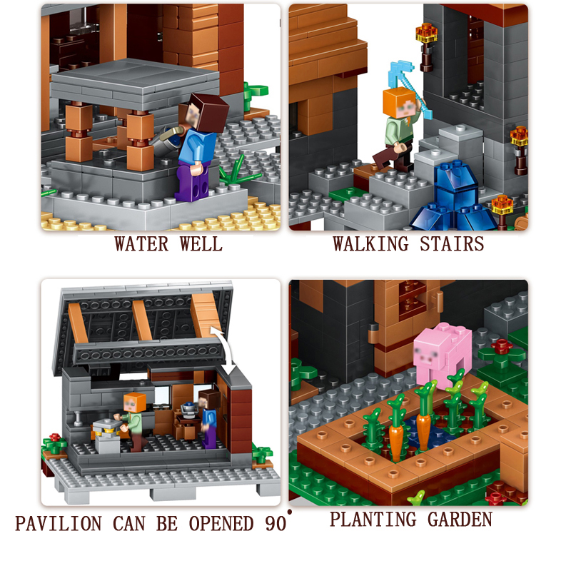 Mailackers-Lepin-Legoing-Minecrafts-18010-The-Village-1106Pcs-My-World-Building-Blocks-Toys-Children-For-Legoing (3)