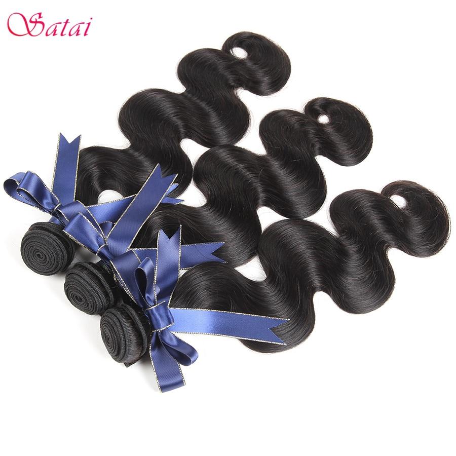 Satai Brazilian Body Wave Hair Extension 1 Piece Remy Human Hair - Mänskligt hår (svart) - Foto 4