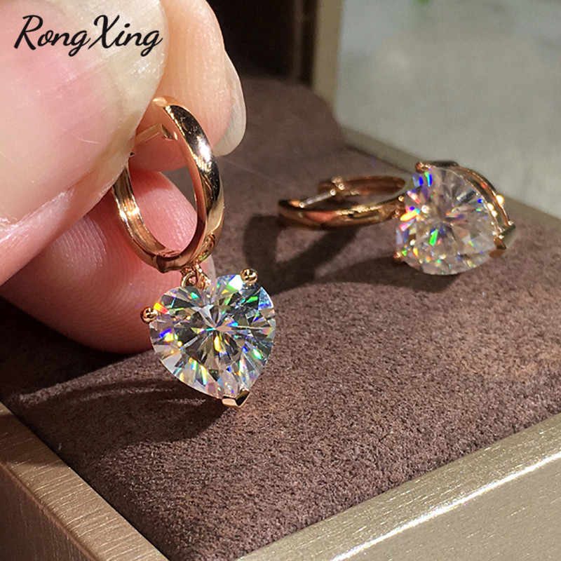 RongXing Cute Heart White Cubic Zirconia Hoop Earrings for Women Vintage Fashion Rose Gold Crystal Stone Earring Wedding Jewelry