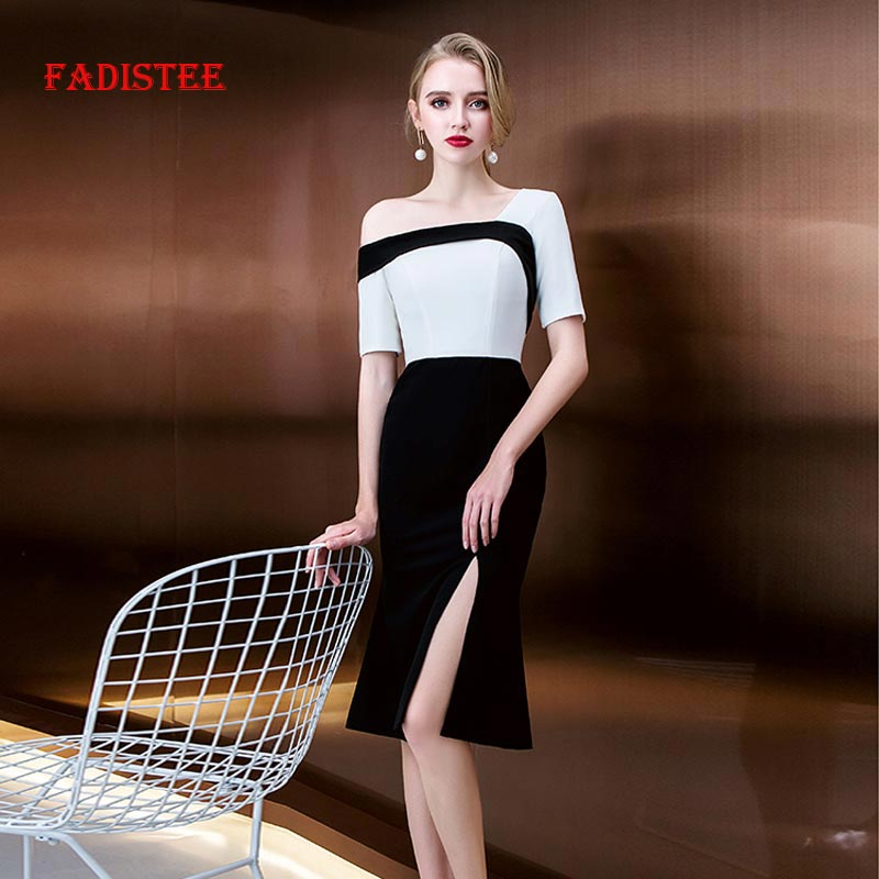 FADISTEE New Arrive Spring Summer Cocktail Party Little Style Criss-Cross Black Half Sleeves Mini Prom Little White Dresses