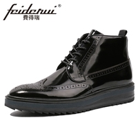 New Arrival Patent Leather Men's High Top Martin Ankle Boots Round Toe Flat Platform Handmade Cowboy Brogue Shoes For Man HQS156