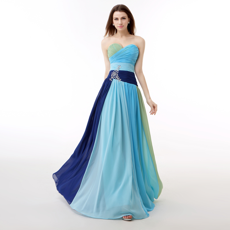 Real Picture Multi Colors Rainbow   Prom     Dress   A Line Crystals Backless Long Formal Party Gown Plus Size Jurken Lang