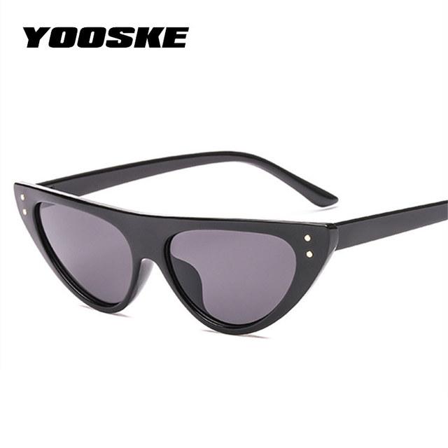 YOOSKE Retro Cat Eye Sunglasses For Women Small Designer Shade Triangle Eyeglasses Vintage Cateye Sun Glasses Female UV400