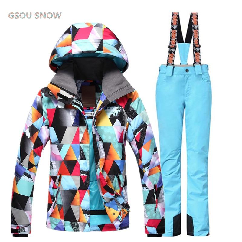 Gsou зимние Куртки женщина Сноубординг зимняя спортивная одежда, лыжные комплекты Водонепроницаемый толстый 30 теплый костюм Куртки + Штаны