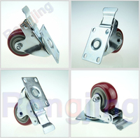 New 3 Furniture Swivel Caster Polyurethane PU Wear Resisting 360 Degree Rolling Wheel Palted With Double