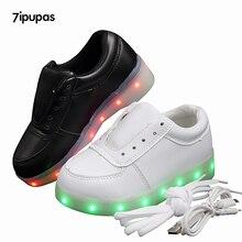 7 ipupas низкая цена оптовой продажи светящиеся кроссовки Белый Черный Синий Граффити 11 цветов светодиодные фонари, светящиеся кроссовки для мальчиков для девочек