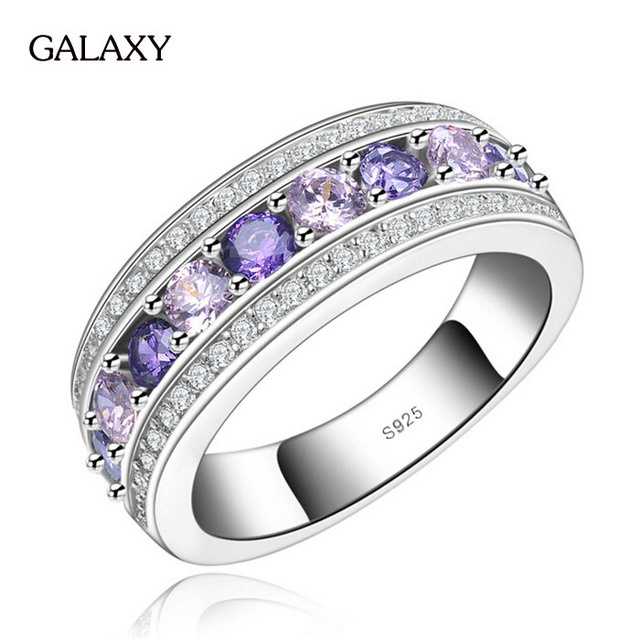 Fashion S925 Stamp Real Pure Silver Wedding Rings For Women Purple Cubic Zircon New Trendy Jewelry