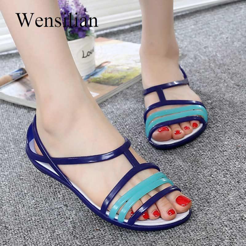 HTB1QLDaaEvrK1RjSspcq6zzSXXaZ Women Sandals Flat Casual Jelly Shoes Sandalia Feminina Beach Candy Color Slides Ladies Flip Flops Slippers Sandalias Mujer