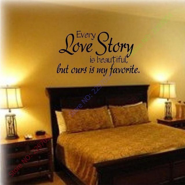 Wall stickers home decor english quote every love story is beautiful vinyl lettering