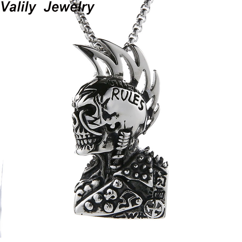 EdgLifU Man Gothic Skull Pendant Necklace Cool Rock Figure Heavy Metal Necklace Stainless Steel Long Box Chain Necklaces Jewelry