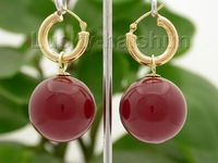 00 FREE SHIPPING dAAA Dangle big 20mm red round sea shell pearls Earrings hoop j8663