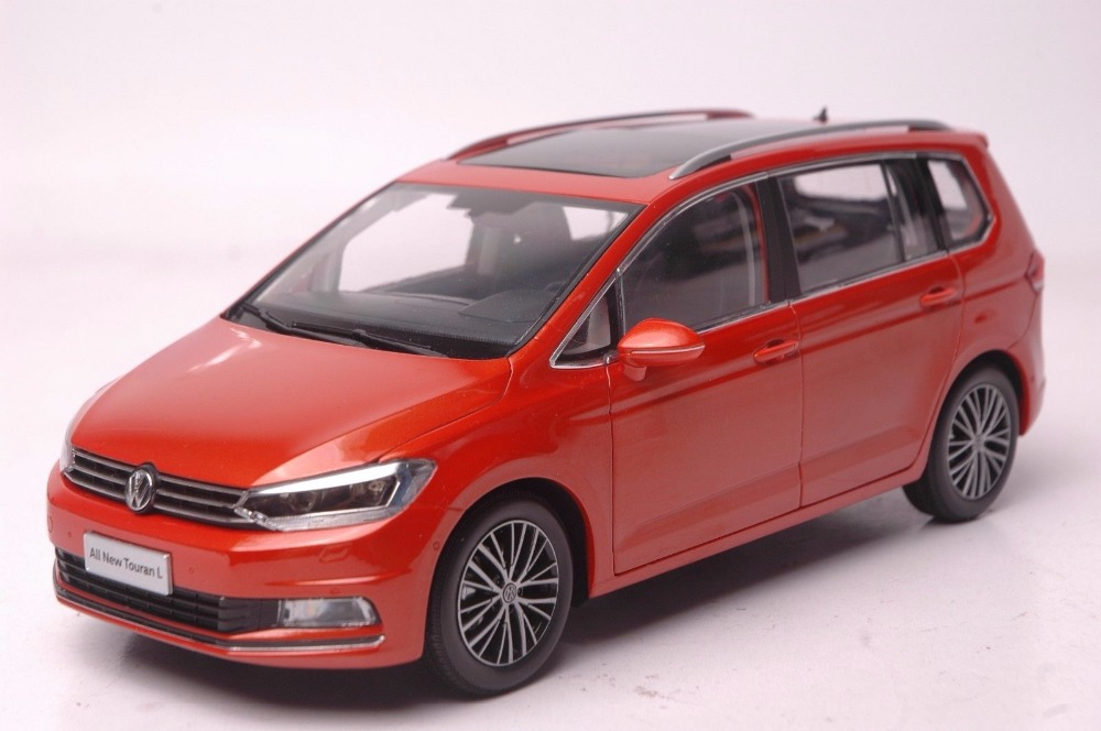 1:18 Diecast Model for Volkswagen VW All New Touran L 2016 Orange MPV Alloy Toy Car Miniature Collection Gifts масштаб 1 18 vw volkswagen new cross polo 2012 diecast модель автомобиля оранжевый