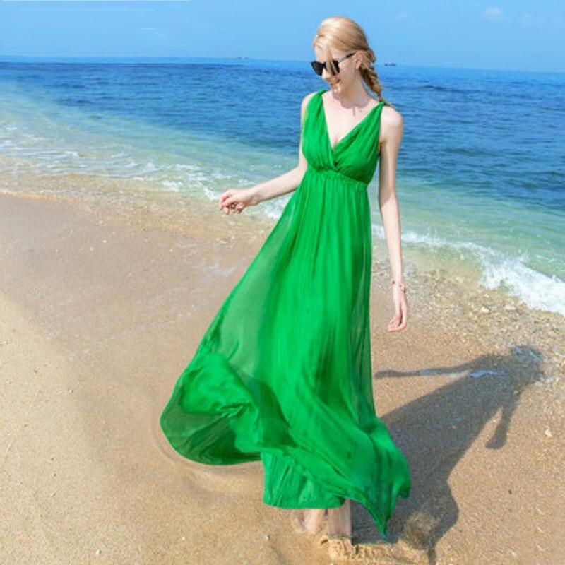 Femmes Soie robe Long Beach robe 100% Soie Naturelle Solide robe d'été robes Col V Sans Manches Livraison Gratuite Vente CHAUDE