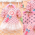 Autumn Kids Girls Crew Neck Long Sleeve Lollipop Polka Dots Princess Dress