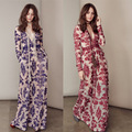 Women Dress Ukraine 2016 Spring Summer New Fashion Europe V Collar Sexy Long Dress Embroidered Flowers Maxi Dress Vintage