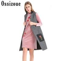 Ossizoue 2018 Fashion Flowers Embroidery Vest Women Elegant Gray Faux Wool Vest Ladies Long Waistcoat Cardigan Sleeveless Jacket