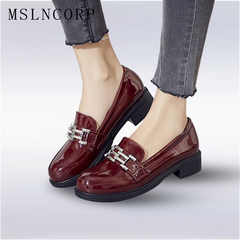 Plus Size 34-43 Patent Leather Loafers Shoes Women Casual Oxford Shoes for Women Flats Comfortable Slip on Woman Moccasins Shoes цены онлайн