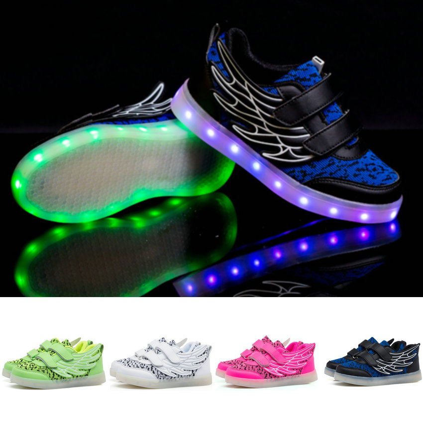 2016 new Children Led Lights Shoes For Boys/Girls Usb Charger Light Schoenen Kids Shoes Chaussure Enfant Luminous Sneaker Casual
