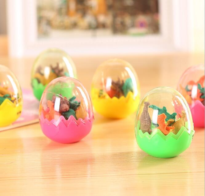 24pcs/lot Novelty Dinosaur Egg Eraser Writing Stationery Kids Birthday Festival Party Favor Take-home Gifts