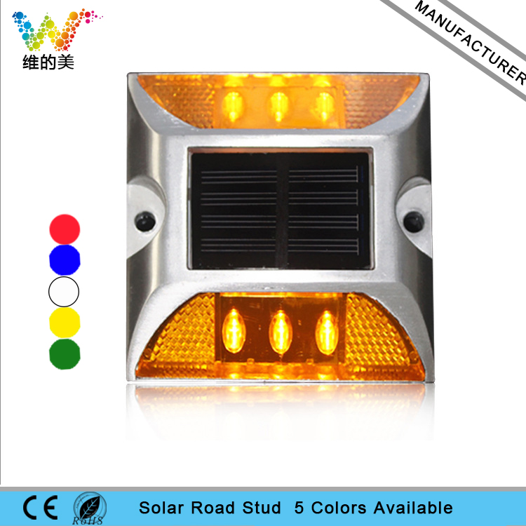 Raised Road Stud Maker Pathway Deck Dock LED Steady Light Solar Powered 10 Pieces Free Shipping 5 Yellow 5 White
