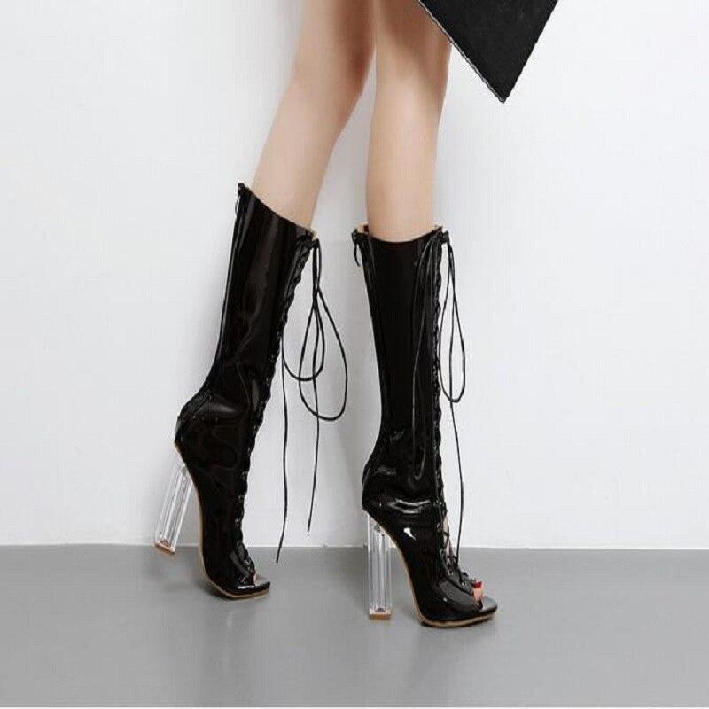 Womens Summer Knee High Mesh Boots Flat Heel Sandals Shoes Peep Toe Summer Shoes