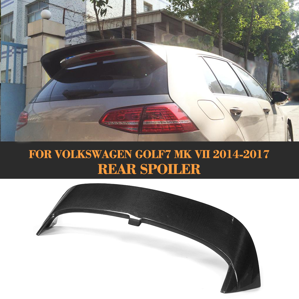 Carbon Fiber Rear Roof Spoiler Tail Roof Trunk Lip Wing for Volkswagen VW golf 7 VII MK7 Standard 2014 - 2017 Non GTI JC style real carbon fiber mirror cover case for vw golf 7 mk7 gti tsi vii jdm 2013 2015 [1031001]