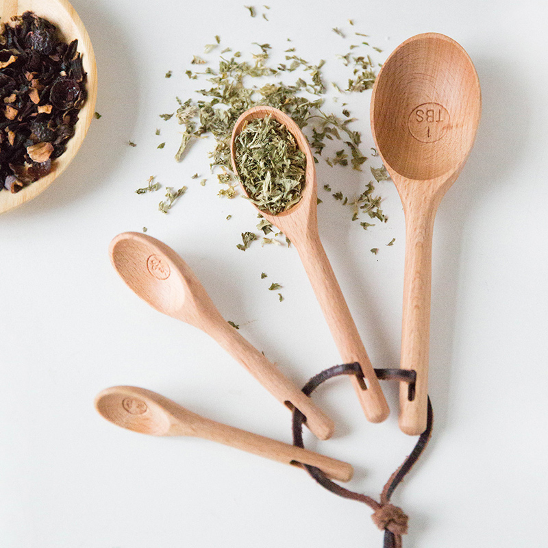 4pcs Wood Measuring Spoon Set High Quality Kitchen Coffee Sugar Spice Spoon Baking Measuring Scoop Cooking Tools Wooden Utensils (4)