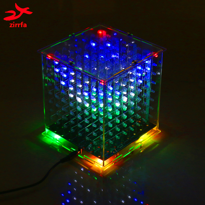 DIY 3D 8s multicolor 8x8x8 display led electronic light cubeeds diy kit Students production Excellent animations