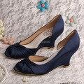 Wedopus MW488 Marinha das Mulheres de Cetim Casamento Sapatos De Cunha Peep Toe de Baile Tribunal Shoes