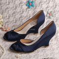 Wedopus MW488 Women's Navy Satin Wedge Shoes Wedding Peep Toe Prom Court Shoes