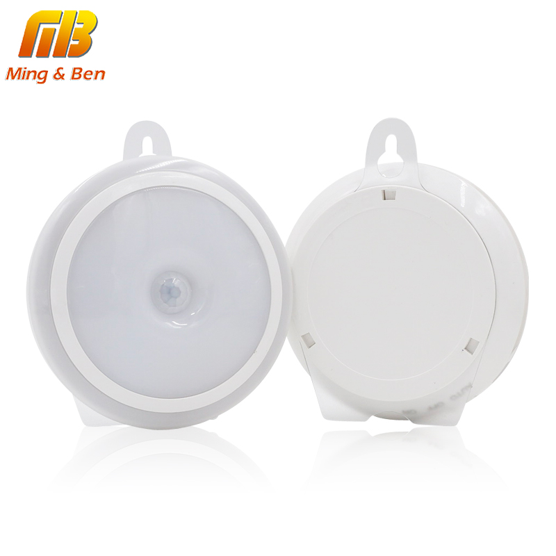 [MingBen] Magnetic LED Night Light Infrared PIR Bright Motion Sensor Lamp Activated Wall Lights Auto On Off Battery Operated litake led bulb lamp energy saving motion activated light bulb e27 9w pir infrared motion sensor light pir stairs night light