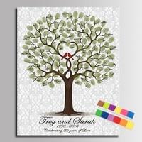 DIY Fingerprint Signature Tree Canvas Painting Loved Birds Wedding Anniversary Wedding Gift Guest Book