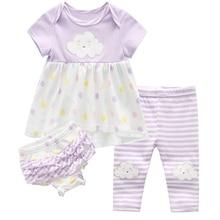 Crianças vestidos de bebê meninas conjuntos de roupas de bebê meninas calças de algodão terno childern dos desenhos animados 3 pçs corpo