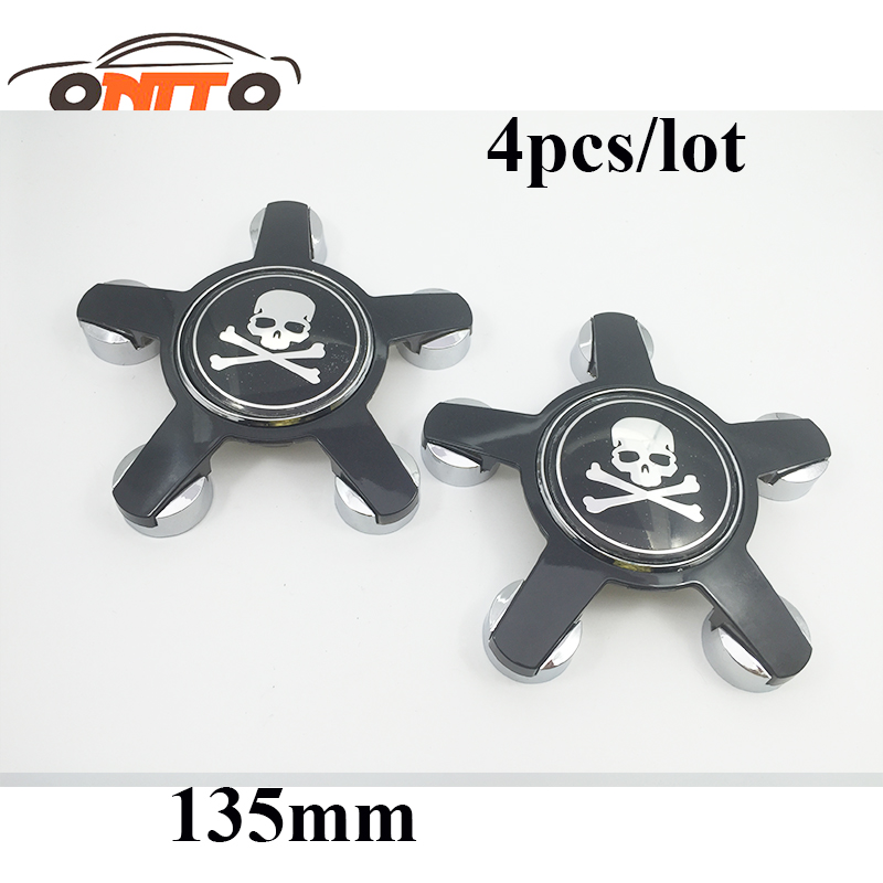 Auto Accessories 4pcs 135MM 5claw black base wheel center Cover for bone logo for audi