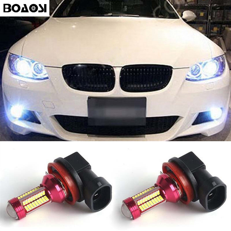 BOAOSI 2x H8 H11 LED canbus Bulbs Reflector Mirror Design For Fog Lights For BMW E39 325 328 M mini SPORT boaosi 1x h11 led canbus 5630 33 smd bulbs reflector mirror design for fog lights no error for audi a3 a4 a5 s5 a6 q5 q7 tt