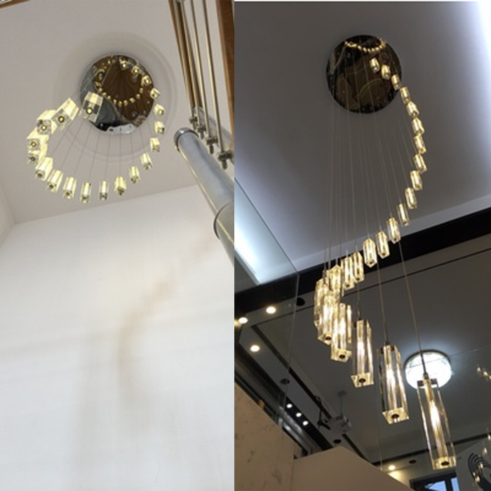 Modern Chinese simple villa lamp crystal block long line LED chandelier S - type rotating double staircase living room lighting  taiwan sec 1 line type electric scissors simple type
