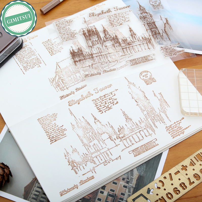 Transparent Silicone Clear Rubber Stamp Cling Scrapbooking DIY The Twin Bridge Church of Our Lady Journal Diary Photo Album Card