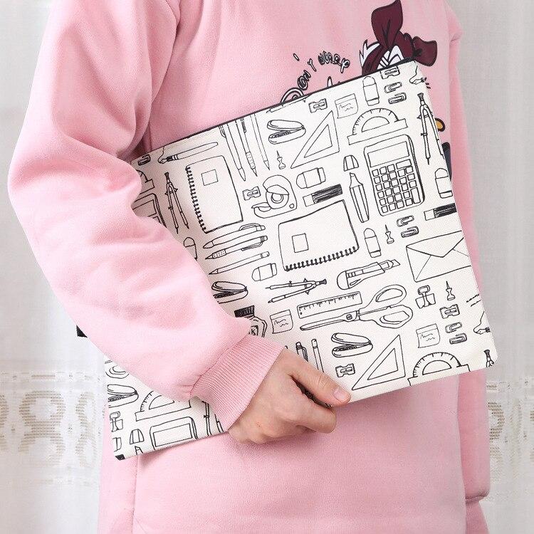 B6 Zipper File Folder Bag PVC Waterproof Oxford Cloth File Holder Bag Creative Multi-Functional Portable Travel Outdoor Storage