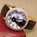 Прекрасный Черный Кристалл Кошка Круглый Циферблат Кварцевые Часы Женские Часы