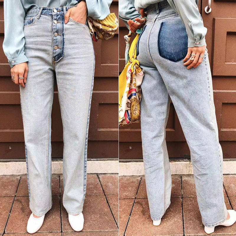 Vintage Light Blue Washed Denim   Jeans   Women Pants Casual Single Breasted Denim Loose Pants High Waist Streetwear Femininas 2019