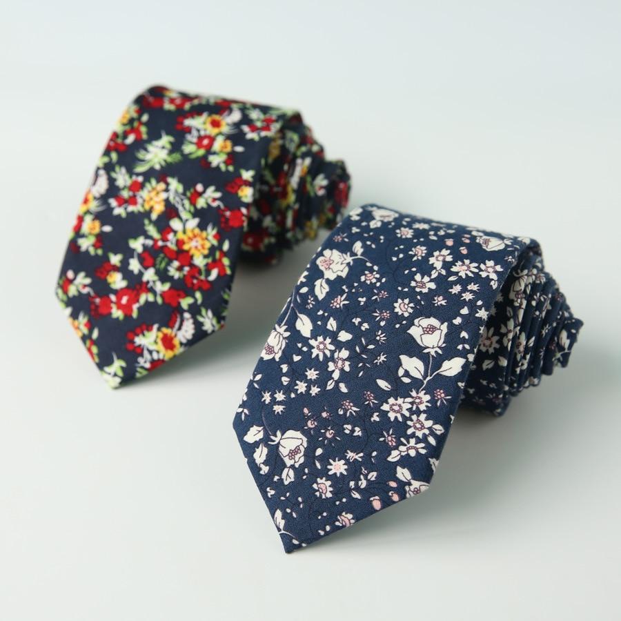 Unisex Cotton Neck Tie For Mens Floral Pattern Groom Skinny Neck Ties Gravatas Casual Women Necktie Cravats