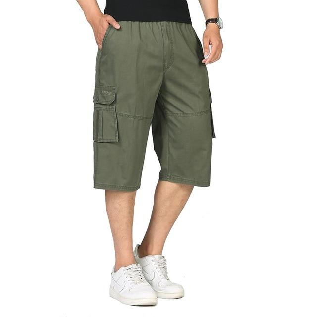 e6d309e9ebb Summer Breeches Men Military Tactical Cargo Short Male Casual Cotton Short  Pant Army Green Baggy Capris Plus Size XXXL 4XL 5XL