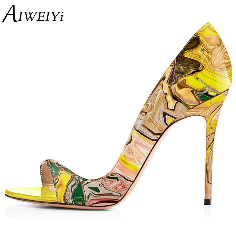 AIWEIYi Women Fashion Peep Toe High Heeled Shoes Print Stiletto High Heels Patent Leather Pumps Ladies Wedding Party Dress Shoes aiweiyi women high heels prom wedding shoes ladies gold silver glitter rhinestone bridal shoes stiletto high heel party pumps